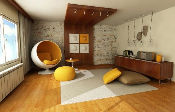 Yellow themed rooms for 60s apartment design