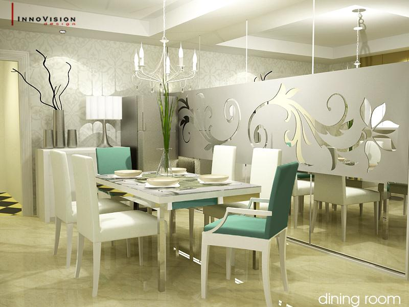 White themed dining room ideas - Luxurious interior design with modern glass and modular metallic theme ...