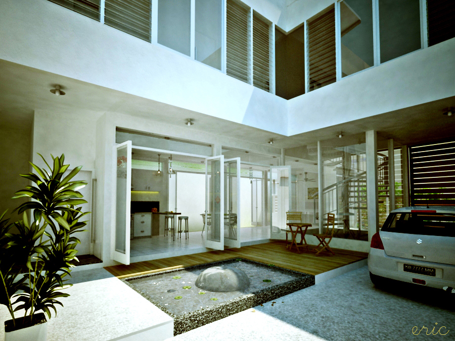 Interior courtyards for Modern courtyard house designs