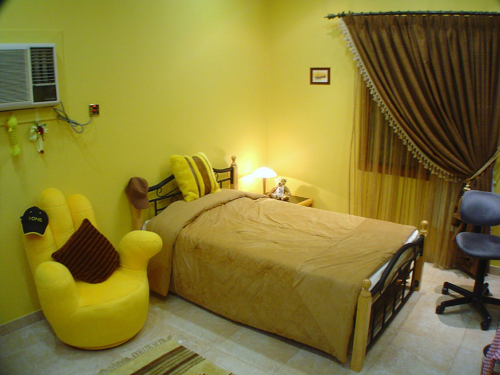 Yellow themed rooms for Room decoration design
