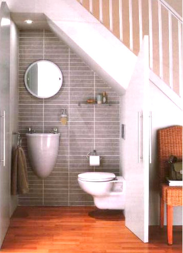 Ideas for space under stairs for Bathroom design under stairs