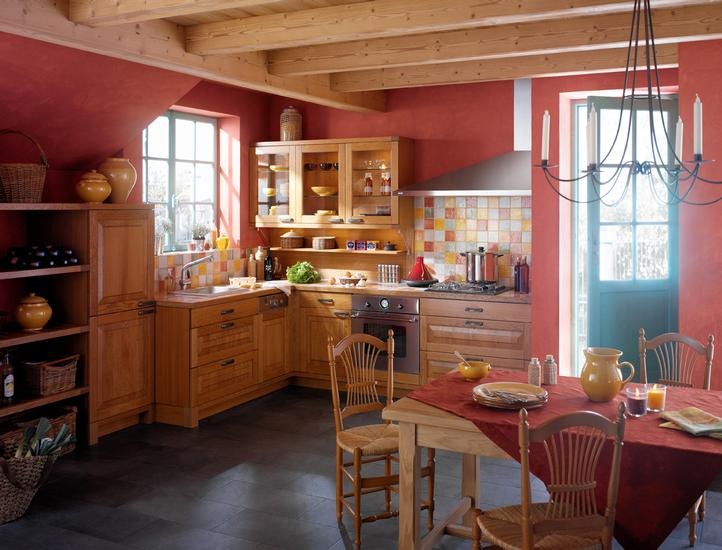 French country kitchens for Red kitchen decor