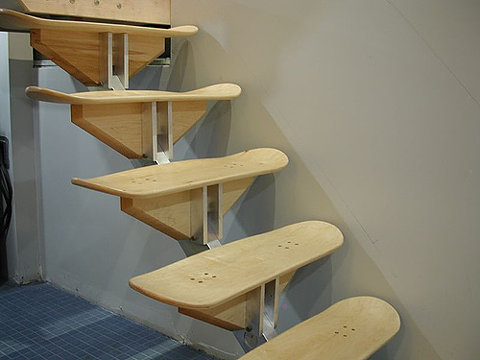 skate board stairs by ted hunter of thin air press via - Skateboard Design Ideas