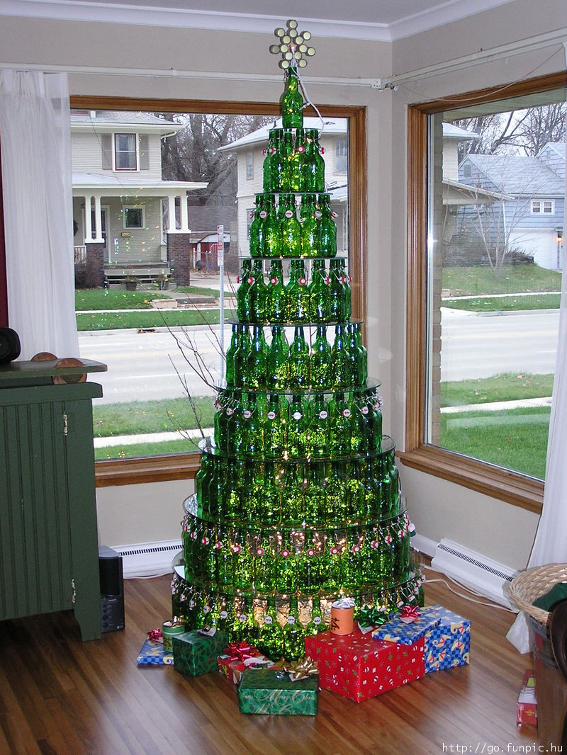 beer bottle christmas tree - Unusual Christmas Decorations