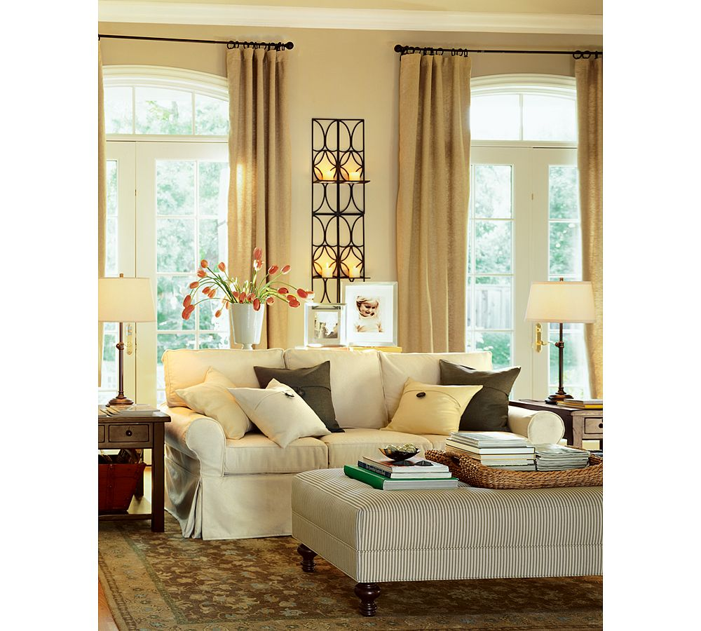 Pottery barn silk curtains - Comfortable Living Room Couches And Sofa