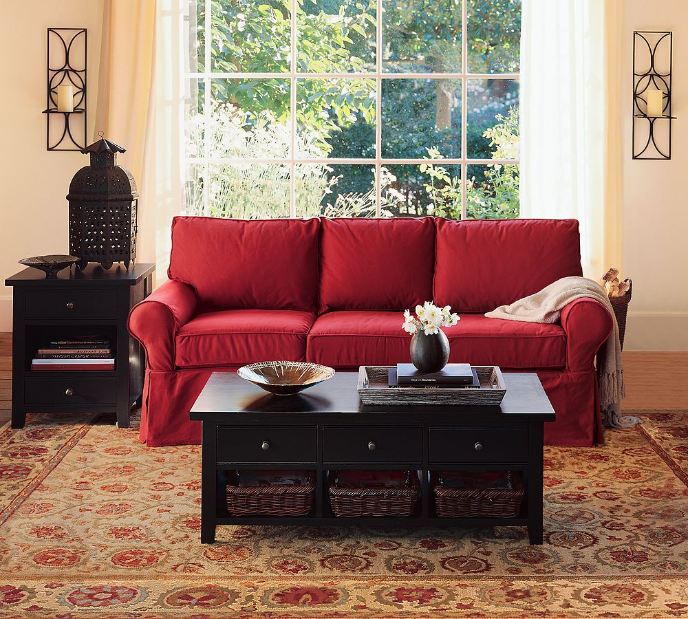 Comfortable living room couches and sofa - Red gold and brown living room ...