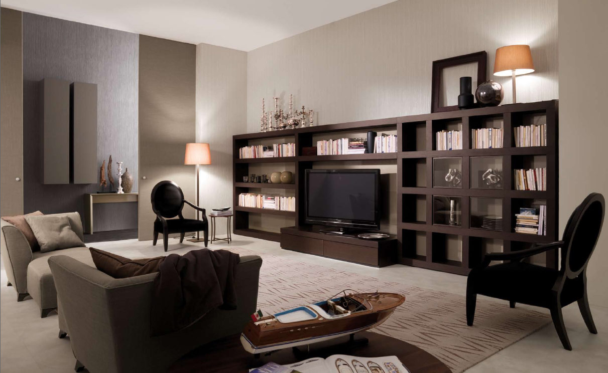 bookshelf as room focus in interior design. Black Bedroom Furniture Sets. Home Design Ideas
