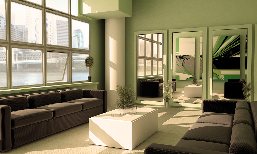 Green living room green furniture for Green and brown living room walls