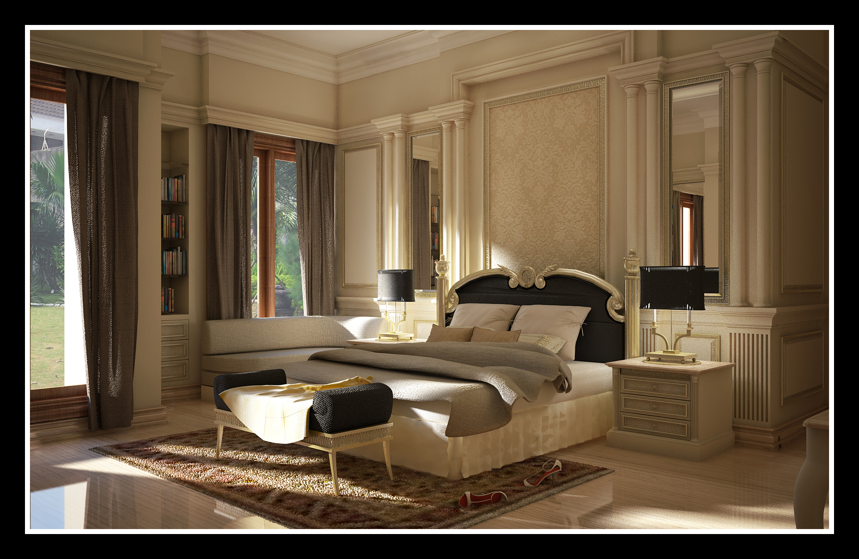 Classic interior design - Interior decoration for bedroom ...