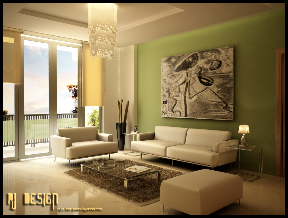 Green living room green furniture Green wall color