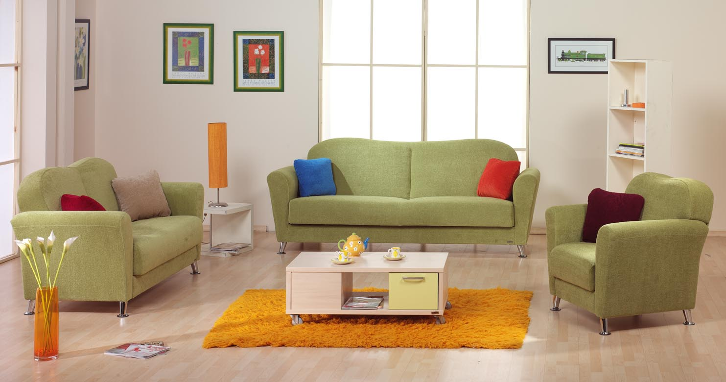 Green living room green furniture for Living room design
