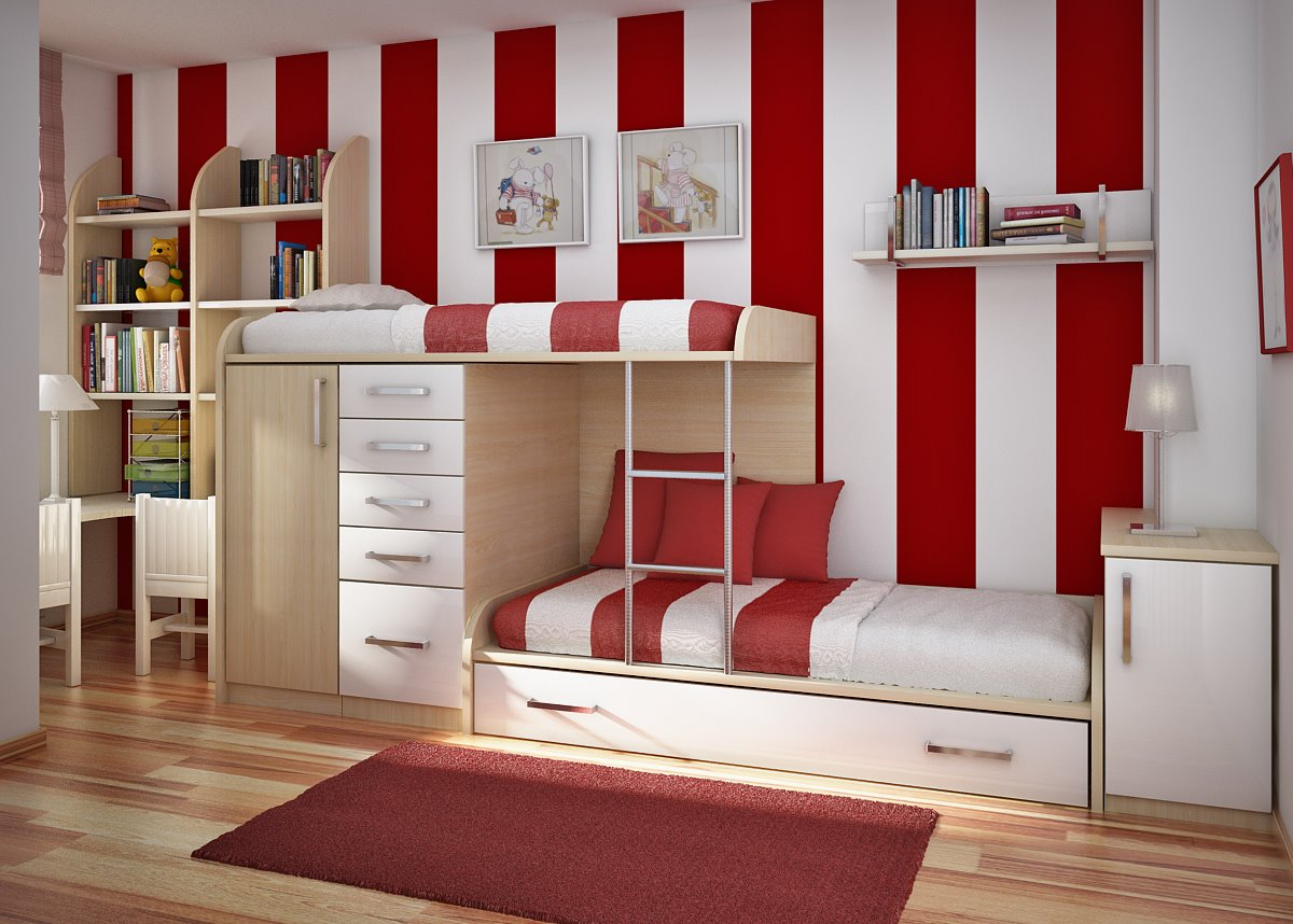 Interior design ideas for children s bedrooms using red