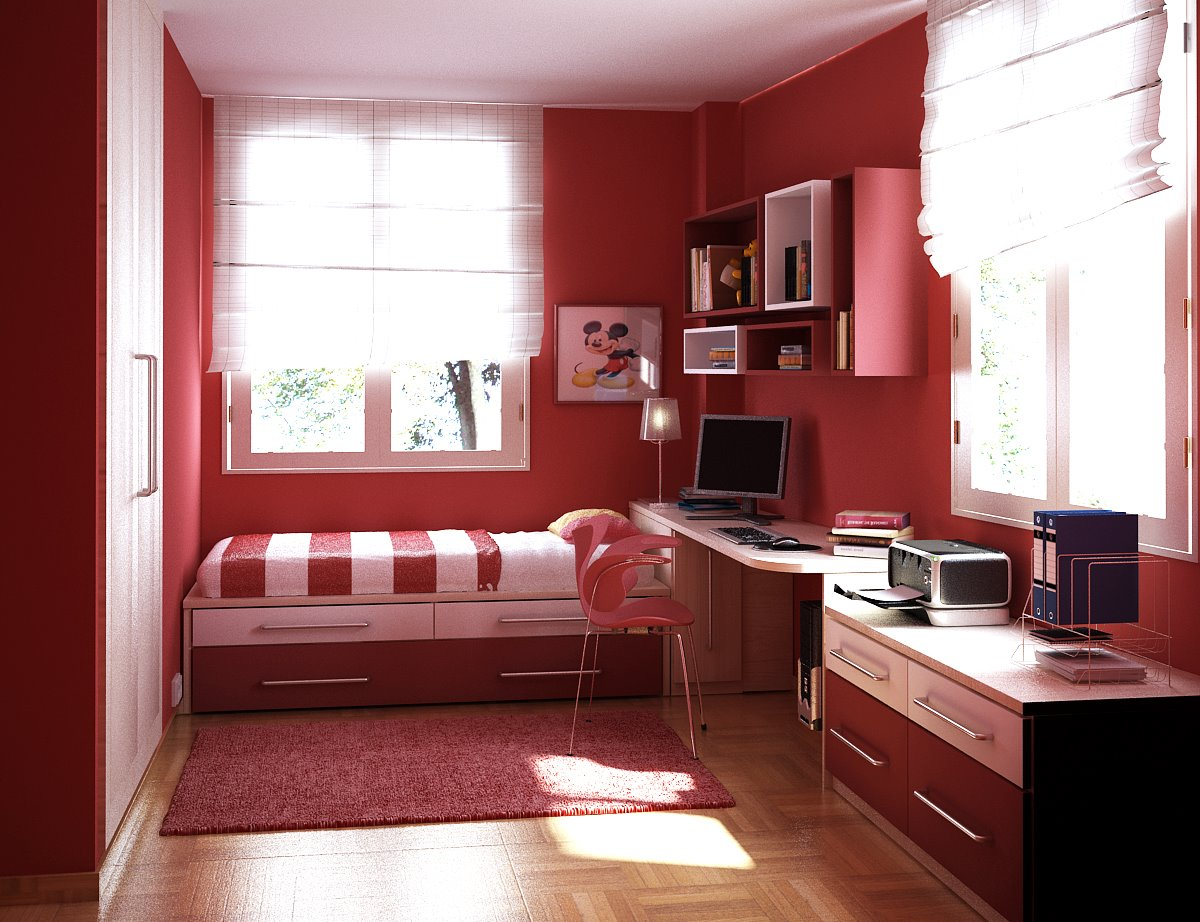 Bedroom designs interior design ideas - Kids Room Red