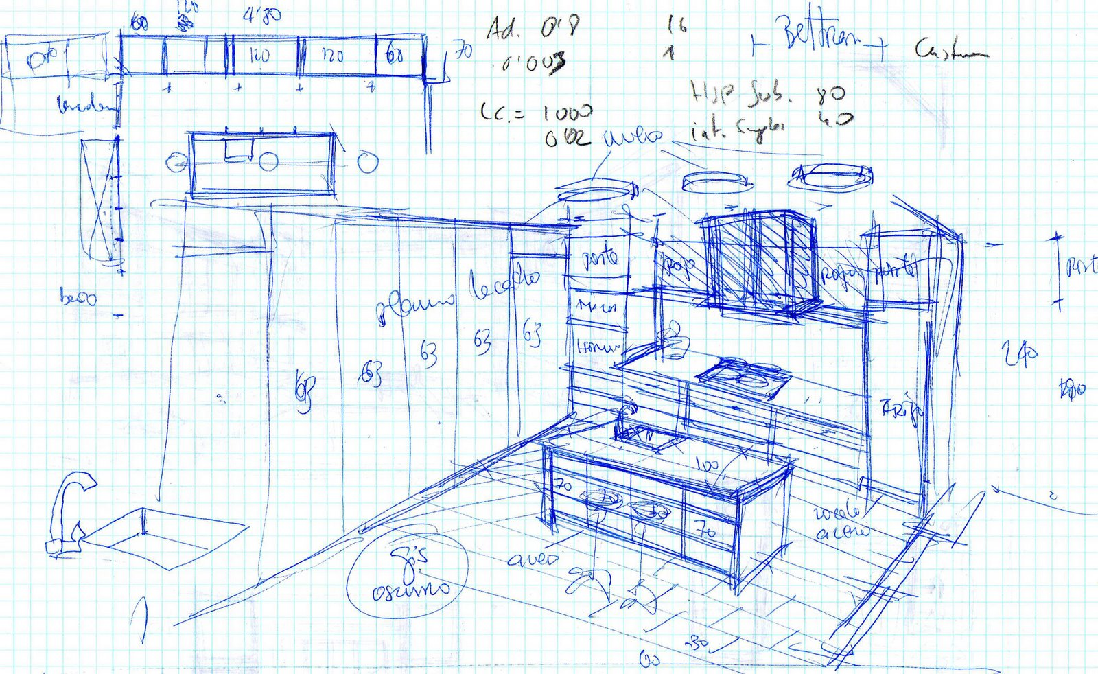 Bedroom drawing for kids - Kitchen Sketch
