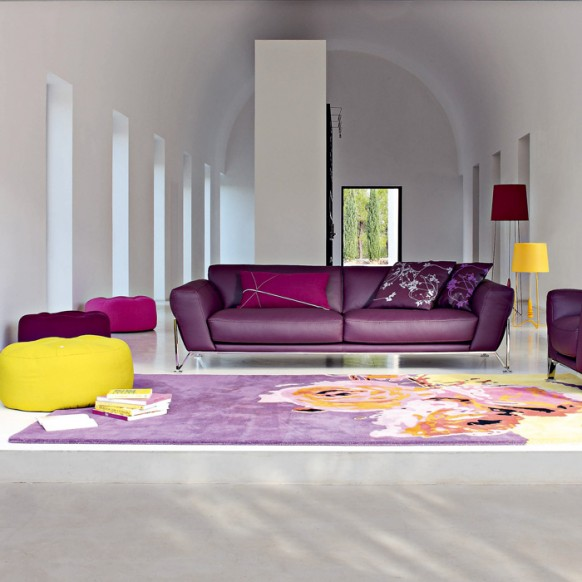 modern purple yellow living room