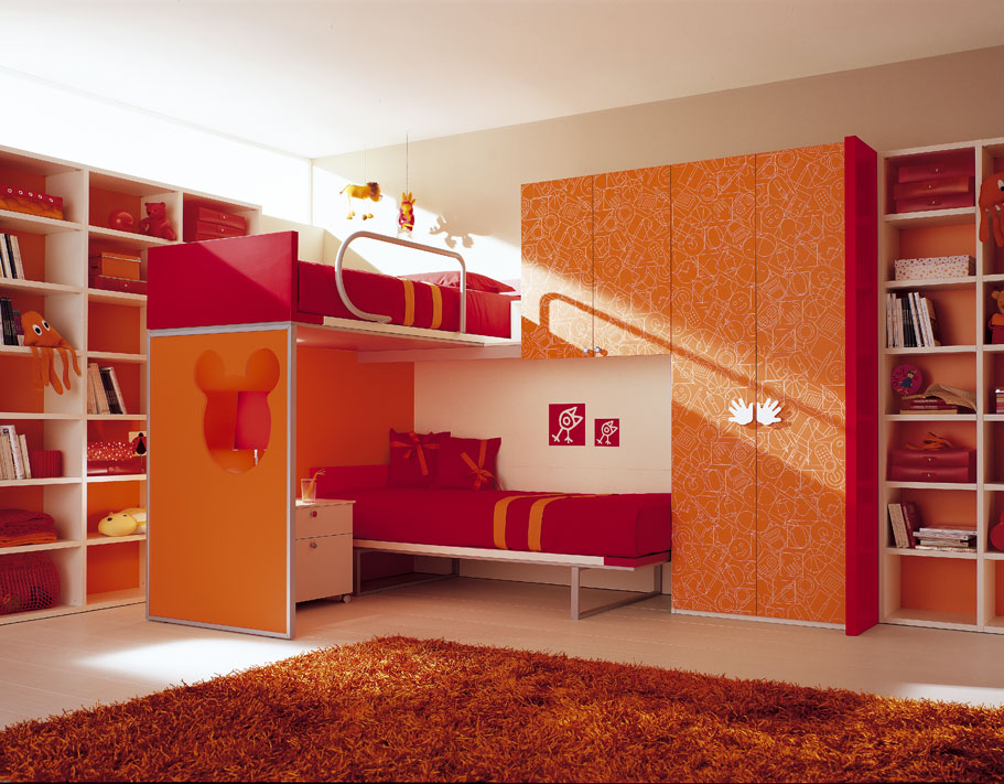 Amazing kids room designs by italian designer berloni for Futon kids room