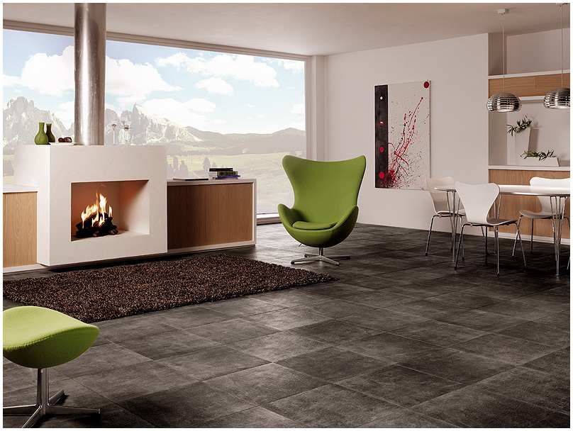 Beautiful ceramic floor tiles from refin for Tiled living room floor designs
