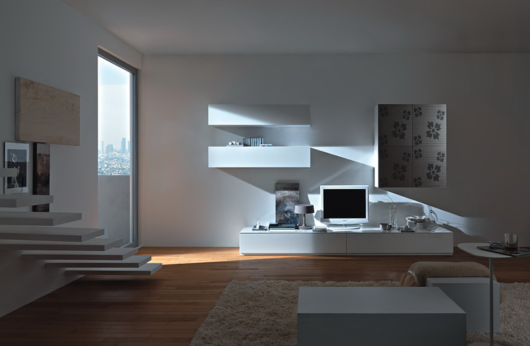 Modern wall units from momentoitalia for Photos of modern living rooms