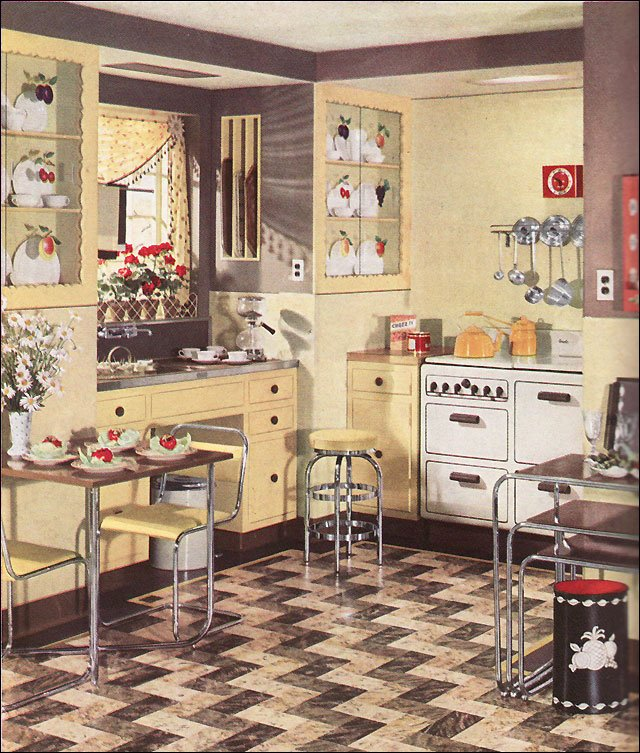 Retro kitchen design sets and ideas for Modern kitchen in 1930s house