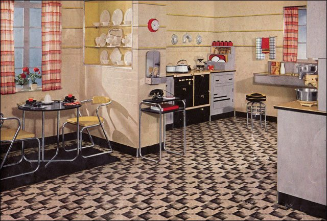 Retro kitchen design sets and ideas for 1930s kitchen floor
