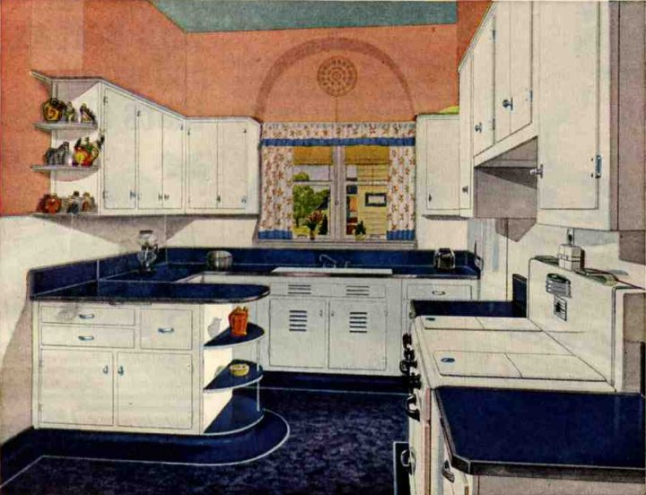 Retro kitchen design sets and ideas for American style kitchen