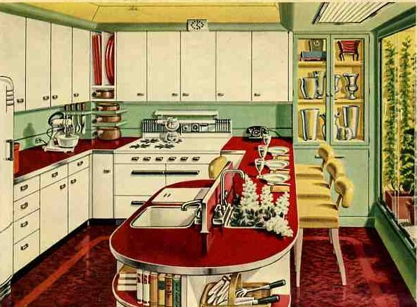 Retro kitchen design sets and ideas for 50s diner style kitchen