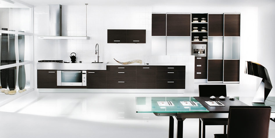black and white themed kitchen