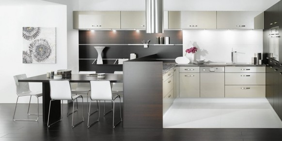 black white kitchen artwork