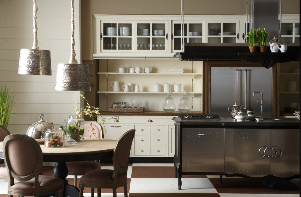 Old town and country style kitchen pictures for Classic kitchen decor