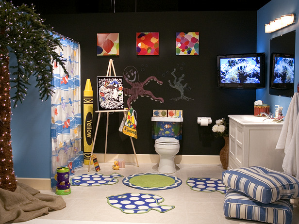 black kids bathroom with tv - Bathroom Decorating Ideas For Kids