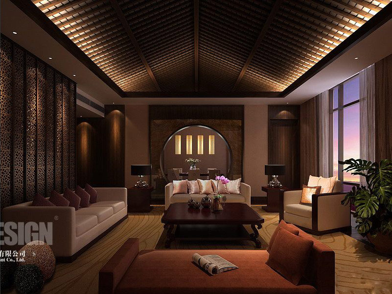 Chinese japanese and other oriental interior design for Home living hall design
