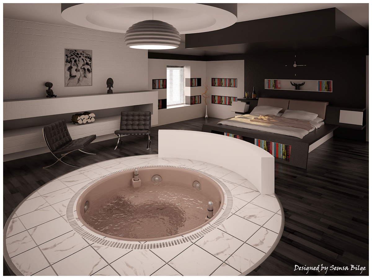 Beautiful bedroom interiors - Bedroom With Tub