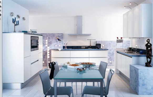 glossy white kitchen