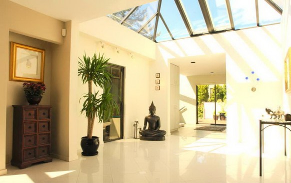 green natural lighted entry hall