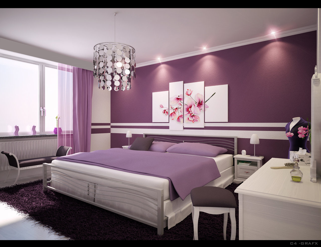 purple feminine bedroom