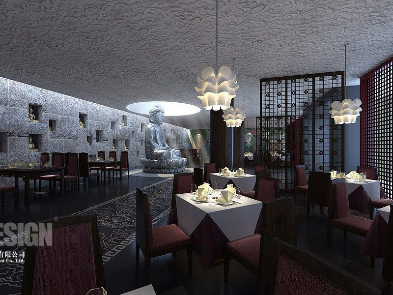 Stylish Asian Interior Design. Traditional Restaurant