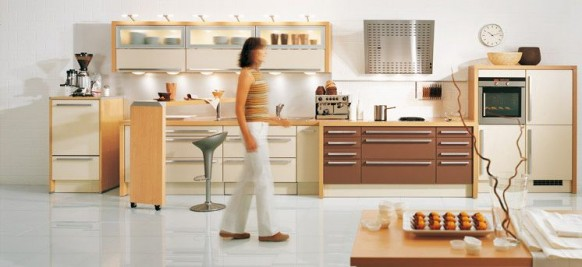white and brown kitchen