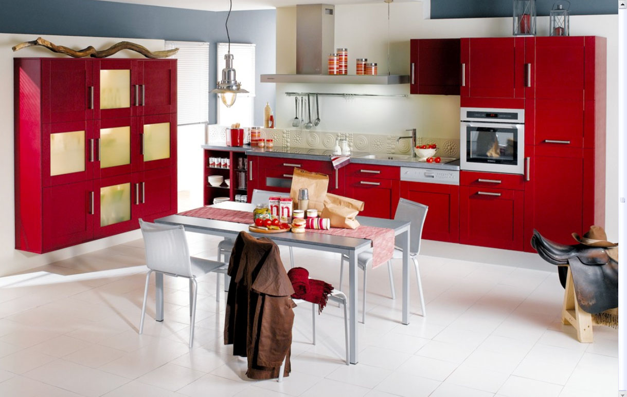white red kitchen - Interior Design For Kitchen