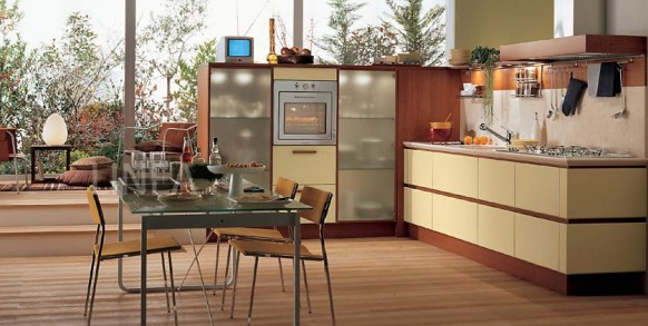 yellow brown kitchen