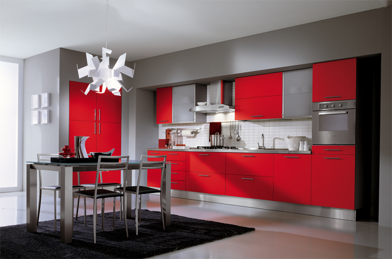 Red kitchens for Red white and black kitchen designs