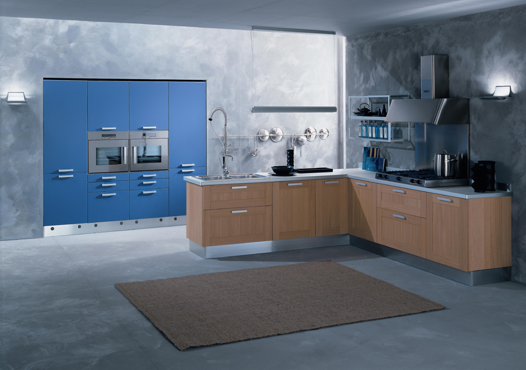 Blue kitchens for Kitchen designs blue