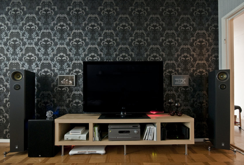 Living room tv setups for Interior wallpaper designs india