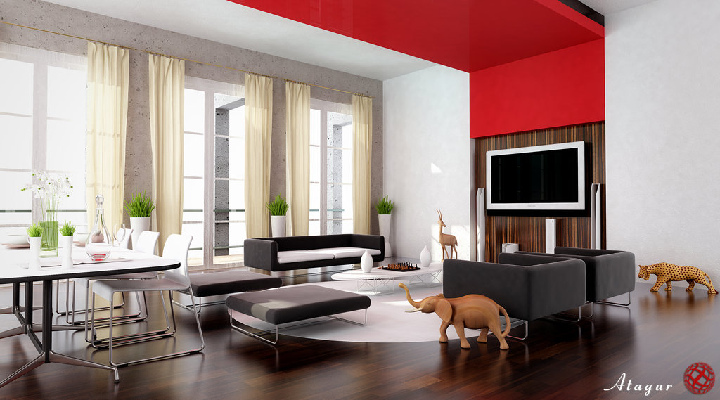 28 red and white living rooms for Living room design photos