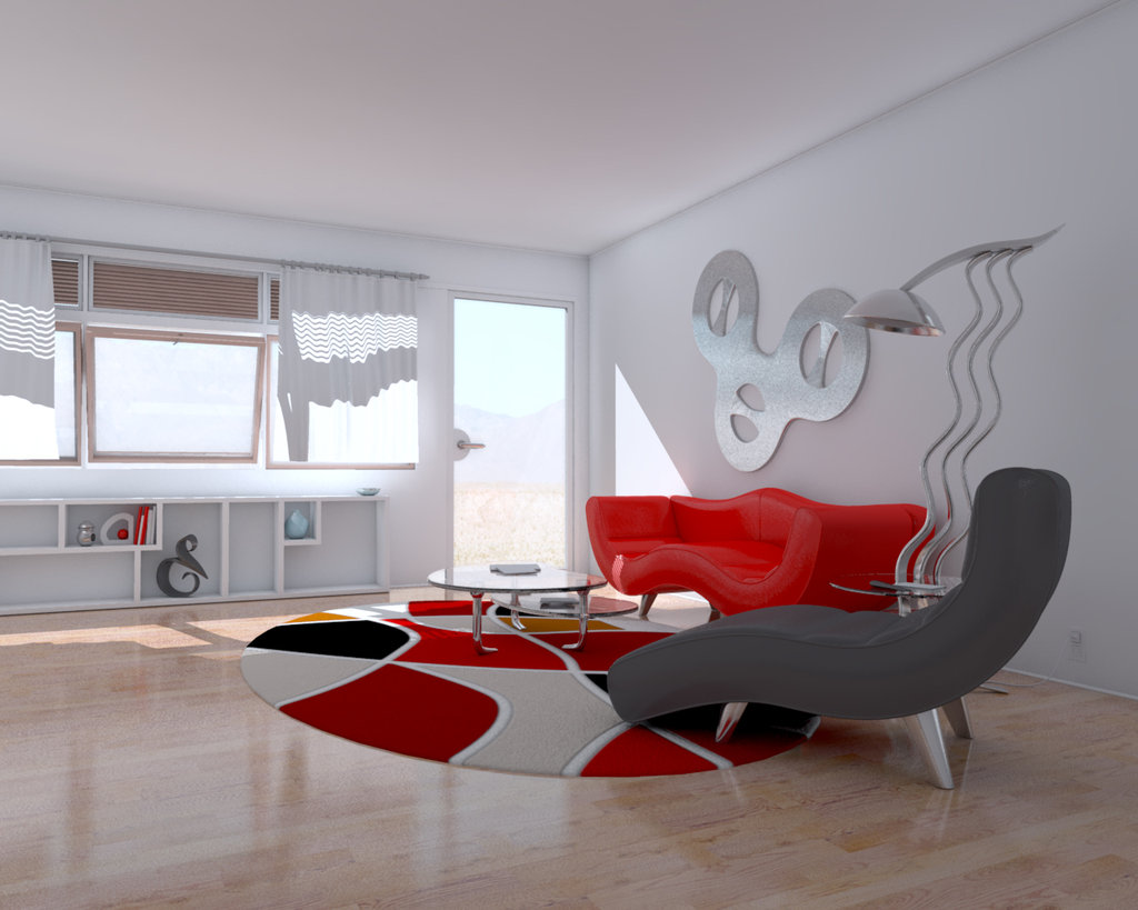 Red And White Living Rooms - Wall paint designs for living room