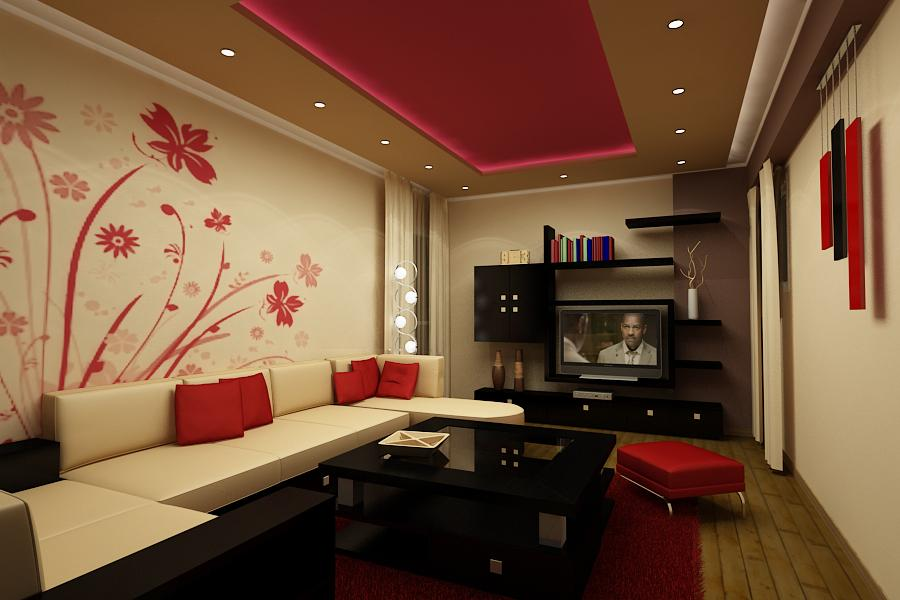 48 Red And White Living Rooms Classy Asian Living Room Design Painting