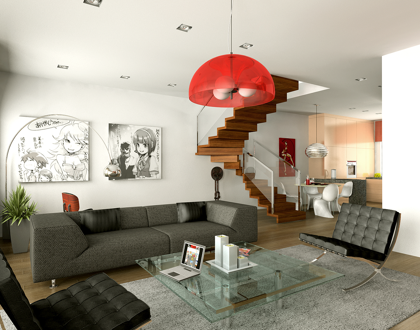 28 red and white living rooms for Decoration house living room