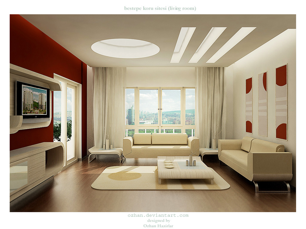 living room design 28 Red and White