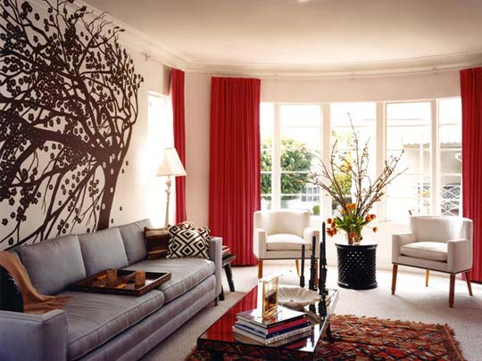 28 red and white living rooms for Red and cream curtains for living room