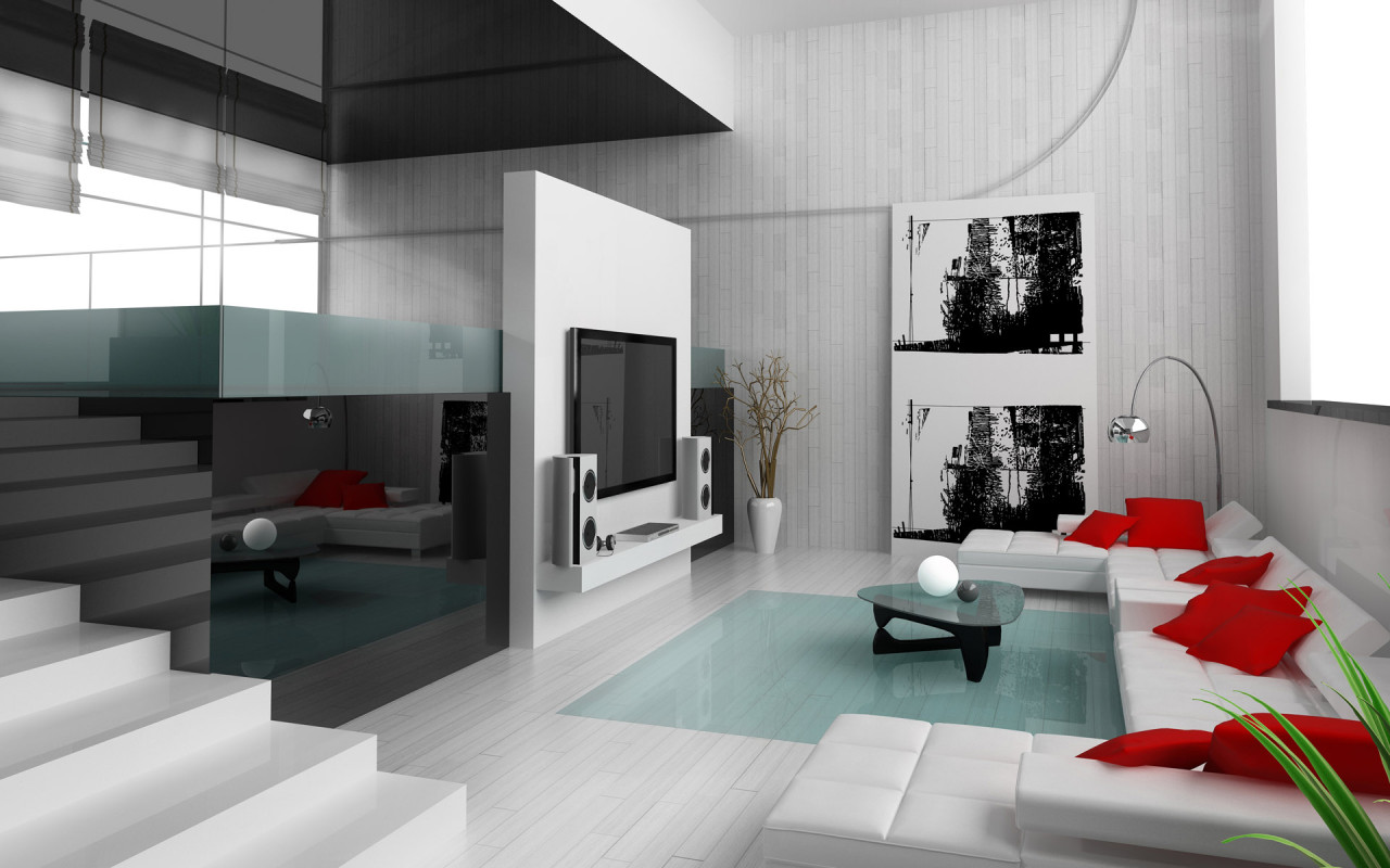 Red And White Living Rooms - Living room interior design