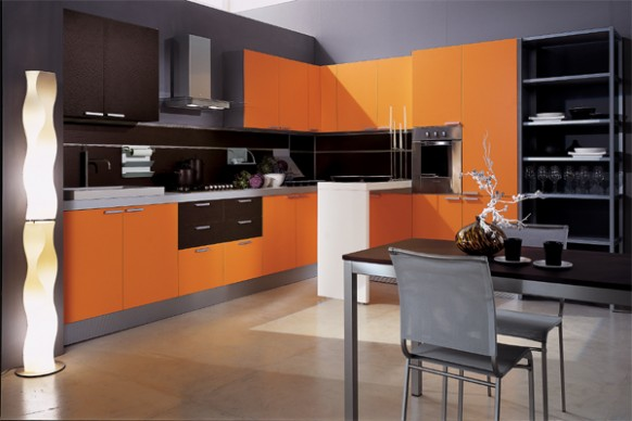 mia arancio orange kitchen